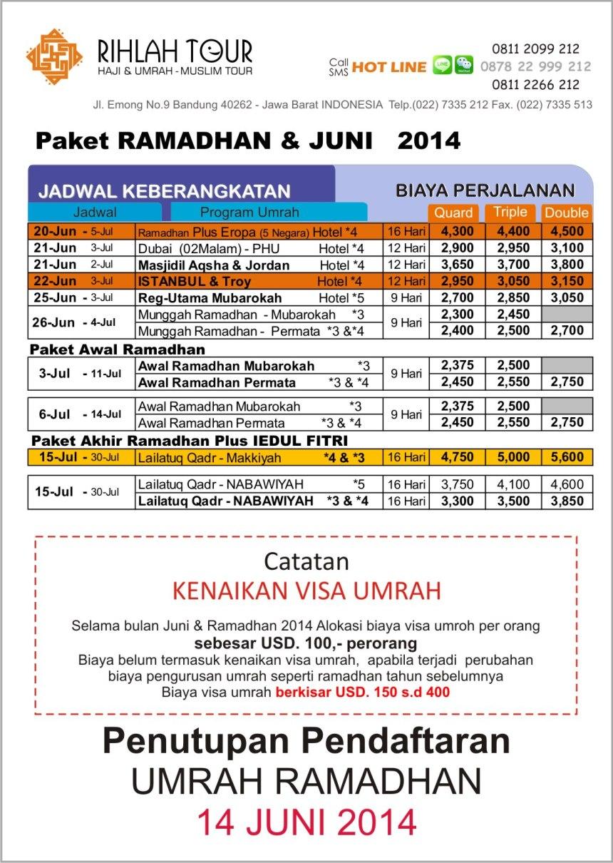 Harga Umrah Ramadhan 2014