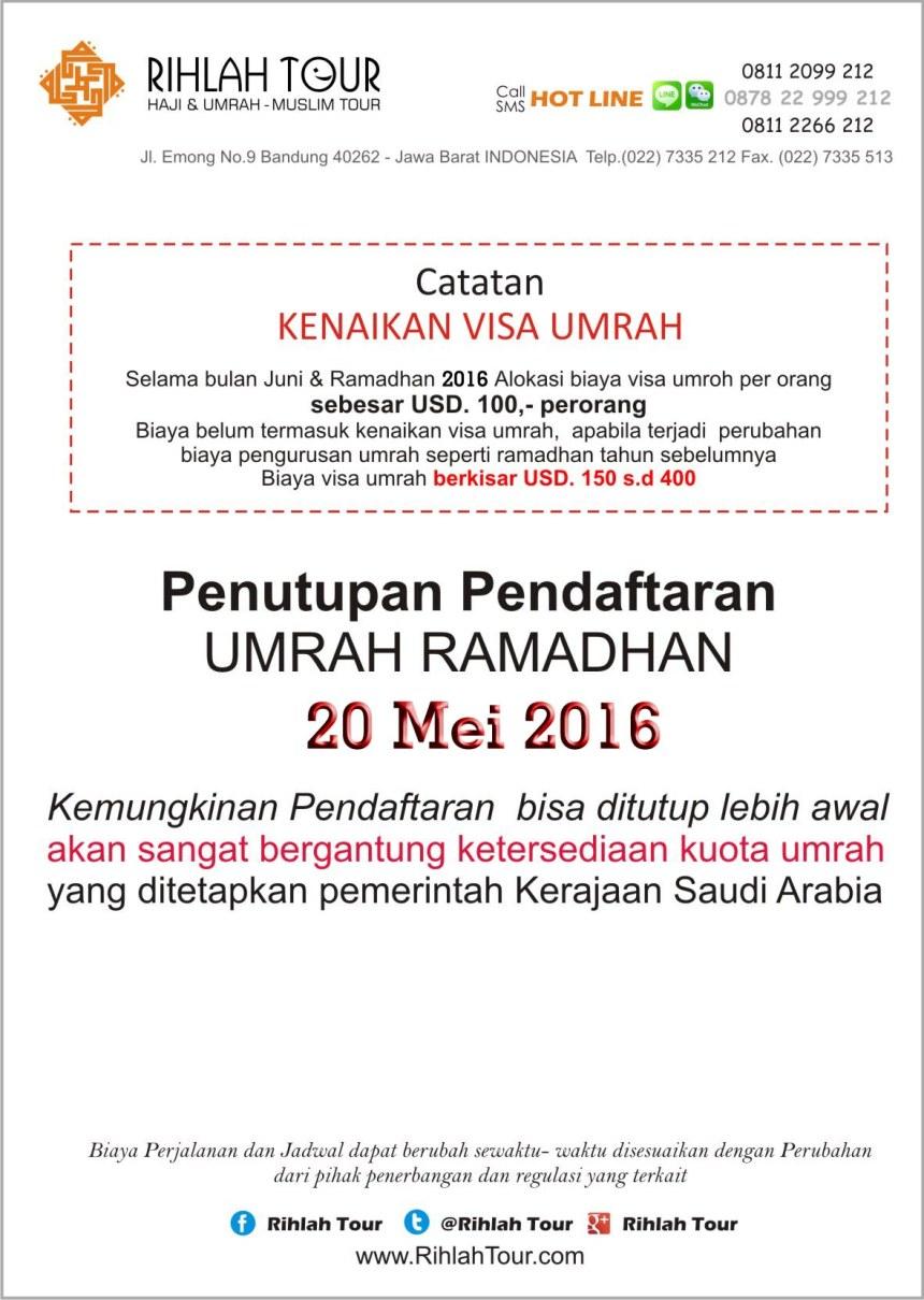 Biaya Umrah Ramadhan 2016