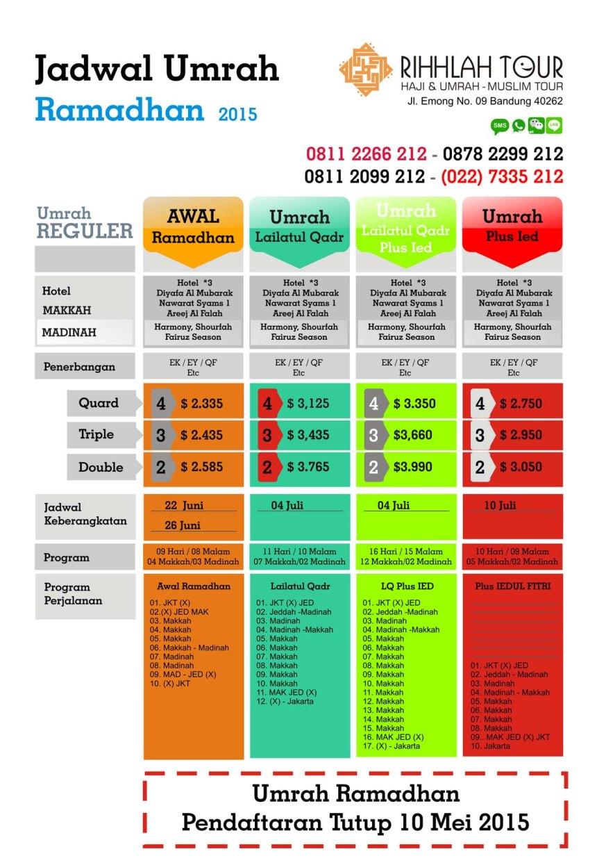 Jadwal dan Biaya Umrah Paket Ramadhan 2015